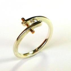 srebro,złoto,pierścionek,leukoszafir - Pierścionki - Biżuteria