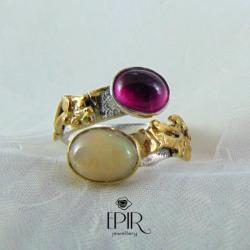 Pierścionek srebrny z opalem i turmalinem - Pierścionki - Biżuteria