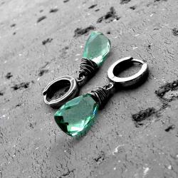 miętowe,zielone,z kwarcem,delikatne,nowoczesne - Kolczyki - Biżuteria