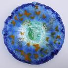 Ceramika i szkło misa,patera,szkło,fusing,motyle,niebieski