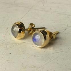 kolczyki,złoto,kamień księżycowy,sztyft - Kolczyki - Biżuteria