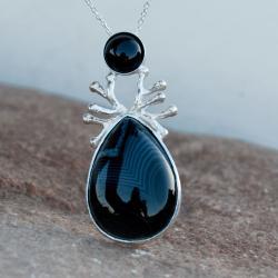 naszyjnik,srebrny,czarny,agat,elegancki,artseko - Naszyjniki - Biżuteria
