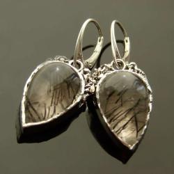 srebro,kwarc,turmalin,kolczyki - Kolczyki - Biżuteria