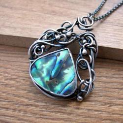 Muszla Paua,naszyjnik wire wrapping,srebro - Naszyjniki - Biżuteria