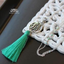 szmaragdowy chwost,boho,romantyczny - Naszyjniki - Biżuteria