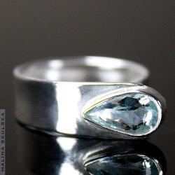 asymetryczny,akwamaryn,delikatny,pierścionek - Pierścionki - Biżuteria