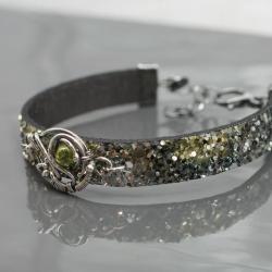 bransoletka,rzemień,wire wrapping,peridot, - Bransoletki - Biżuteria