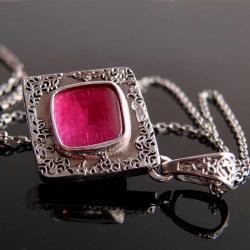 naszyjnik,rubin,srebro,wisior - Naszyjniki - Biżuteria