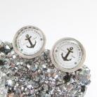 Kolczyki sztyfty srebrne,obrazkowe,srero 925,kotwica morska