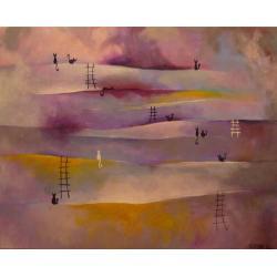 koty,abstrakcja,fiolet,róż,biały - Obrazy - Wyposażenie wnętrz