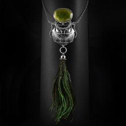 srebrny,naszyjnik,pawie,pióra,szmaragd,ciba,zieleń - Naszyjniki - Biżuteria