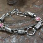Bransoletki srebrna bransoleta z rubinami