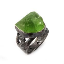 oliwin,srebrny,srebro,zieleń,lekki,surowy,wiosna - Pierścionki - Biżuteria