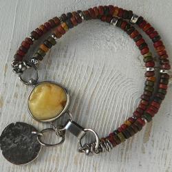 bransoletka z bursztynem,surowy bursztyn,boho - Bransoletki - Biżuteria
