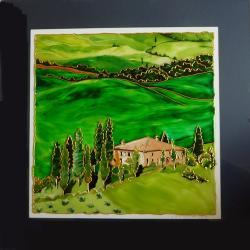 pejzaż,Toskania,Włochy,farby witrażowe,szkło - Obrazy - Wyposażenie wnętrz