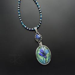 naszyjnik,z kwiatem,z obrazkiem,srebrny - Naszyjniki - Biżuteria