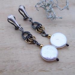 klipsy,chainmaille,srebro pozłacane,długie,perły - Klipsy - Biżuteria