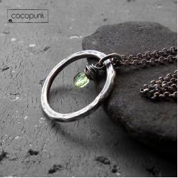 subtelny,kobiecy,srebrny,peridot,zielony - Naszyjniki - Biżuteria