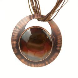 miedziany wisior,na prezent,naszyjnik z agatem, - Naszyjniki - Biżuteria