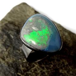 opal,australijski,okaz,zielony,wiosna,styl,srebrny - Pierścionki - Biżuteria
