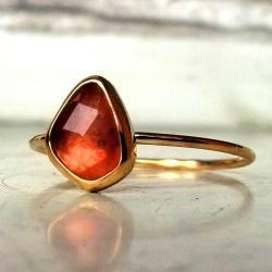 pierścionek,szafir,padparadża - Pierścionki - Biżuteria