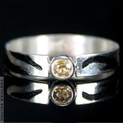 obrączka,delikatna,cytryn,wzory,oksdowana - Pierścionki - Biżuteria