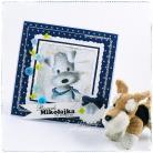 Kartki okolicznościowe pies,roczek,kartka,guziki,chłopiec,niebieski