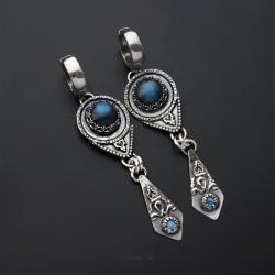 srebrne,kolczyki,długie,z labradorytem - Kolczyki - Biżuteria