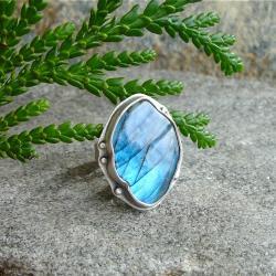 niebieski labradoryt,pierścień - Pierścionki - Biżuteria