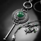 Naszyjniki srebrny,naszyjnik,wire-wrapping,awenturyn,zielony