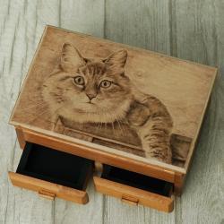pirografia,sowy,kot,szkatułki - Pudełka - Wyposażenie wnętrz