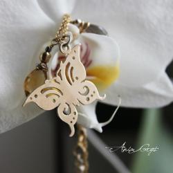 motyl,srebro pozłacane,kobiecość - Bransoletki - Biżuteria