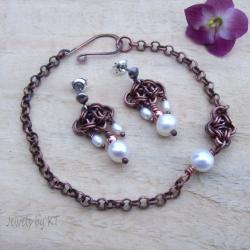 miedź,chainmaille,perły,delikatny,romantyczny - Komplety - Biżuteria