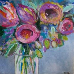 kwiaty,abstrakcja,fiolet,róż,szary,zieleń - Obrazy - Wyposażenie wnętrz