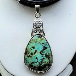 wisiory srebrne,srebro z turkusem,biżuteria - Wisiory - Biżuteria