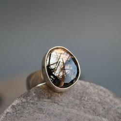 kwarc,turmalin,srebro,grafika,minimalistyczny - Pierścionki - Biżuteria