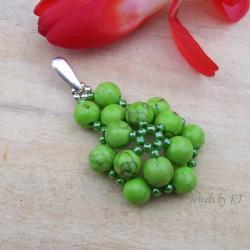 wisior,lekki,kwiaty,zielony - Wisiory - Biżuteria
