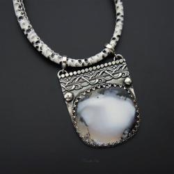 srebrny,naszyjnik,z opalem dendrytowym - Naszyjniki - Biżuteria