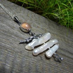 srebrny,romantycznyu,chalcedon,perłowy,natura - Naszyjniki - Biżuteria
