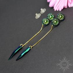 żuk,szmaragdowe,swarovski,długie,smukłe,efektowne - Kolczyki - Biżuteria