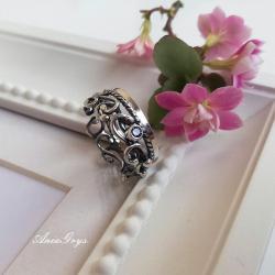 cyrkonia,srebro,ametyst,oksydowany - Pierścionki - Biżuteria