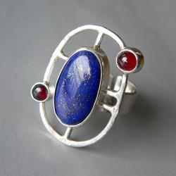 z lapis lazuli,z granatem,regulowany - Pierścionki - Biżuteria