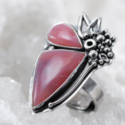 opal różowy,pierścionek z opalem,duży,litori - Pierścionki - Biżuteria