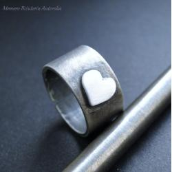 srebro,serce,surowy,oksydowany,walentynki - Pierścionki - Biżuteria