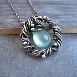 Srebrny naszyjnik wire wrapping,morski chalcedon - Naszyjniki - Biżuteria