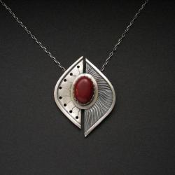 biżuteria srebrna,wisior z koralem,rękodzieło - Wisiory - Biżuteria