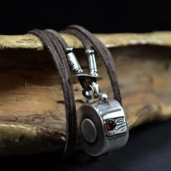 retro srebro,wisior z granatem - Naszyjniki - Biżuteria