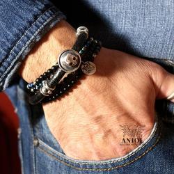 komplet bransolet,biżuteria skórzana - Dla mężczyzn - Biżuteria