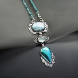 srebrny,naszyjnik,z akwamarynem,z larimarem - Naszyjniki - Biżuteria