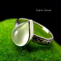 Nehesi,pierścień,srebrny,elfy,prehnit,elficki - Pierścionki - Biżuteria